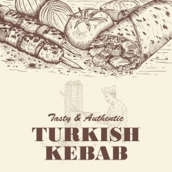 Turkish kebab vintage poster vector