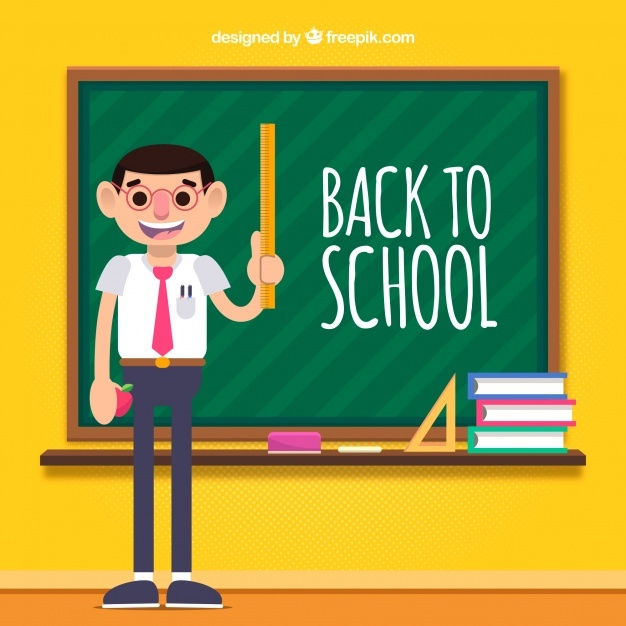 Back to school background with teacher