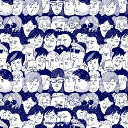 Colorful people pattern with hand drawn style