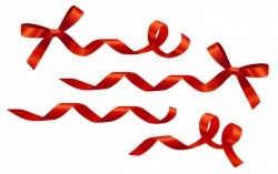 Decorative curled red ribbons and bows set