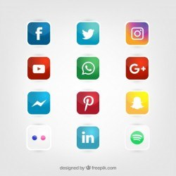 Glossy social media icons vector set