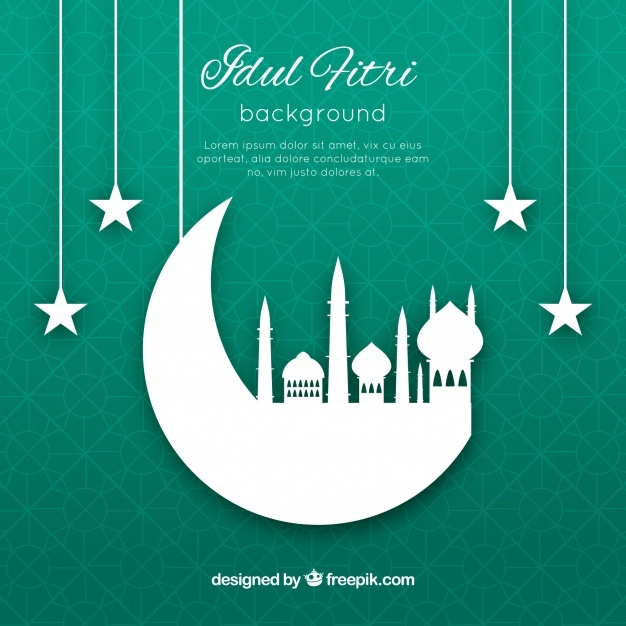 Idul friti background with mosque silhouette