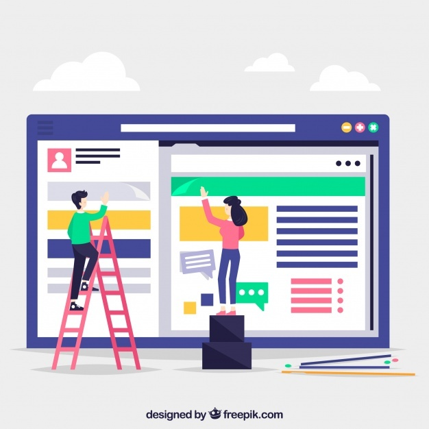 Landing page concept with workers
