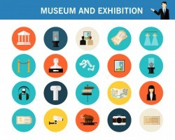 Museum and exhibition concept flat icons