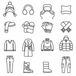 Winter, Warm clothes isolated icons set