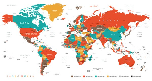 World country location map vector