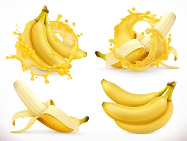 Banana juice and splash vector