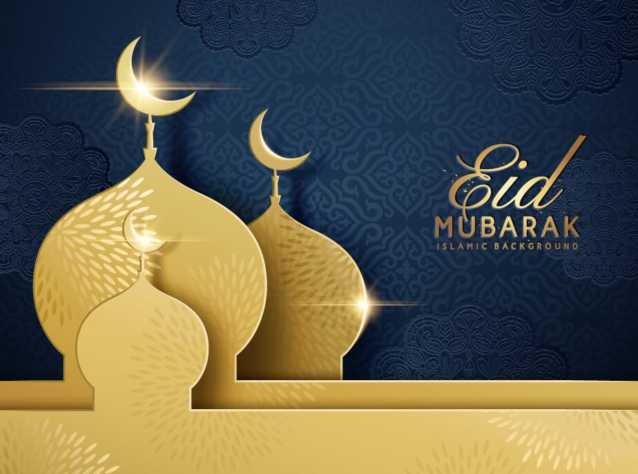Eid mubarak dark background with golden building vector 03