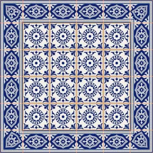 Blue ceramic tile decor pattern vector