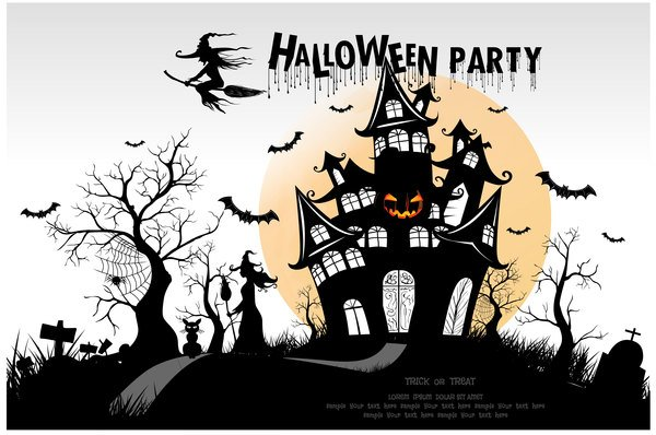 Halloween party background vector material 04