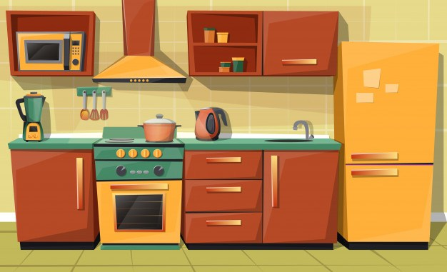 Cartoon set of kitchen counter with appliances