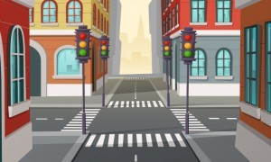City crossroads with traffic lights, intersection
