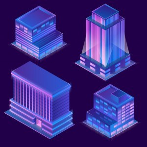 3d isometric modern buildings in cartoon style with neon illumination