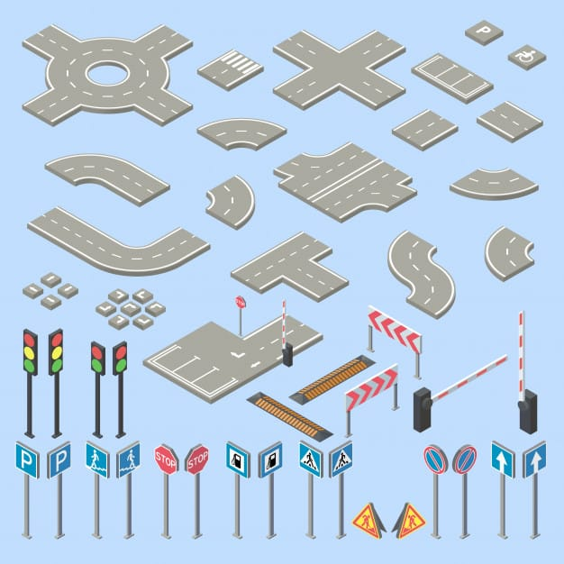 3d isometric road signs collection