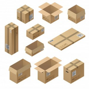 3d isometric set of cardboard packaging, mail for delivery isolated on white
