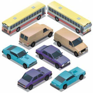 Set of isometric urban transportation