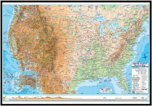 US Advanced Physical Framed Wall Map