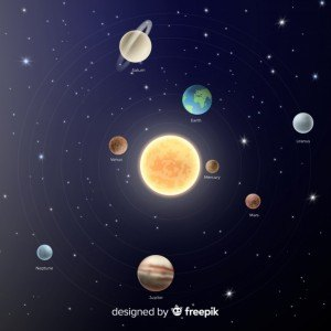 Classic solar system scheme with realistic design