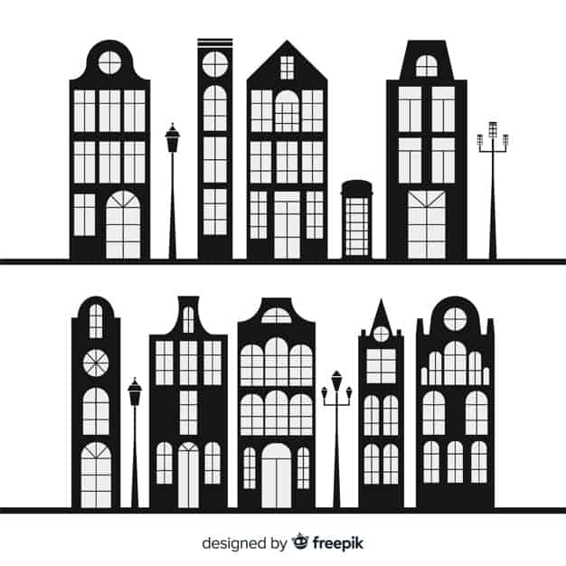 Collection of black and white houses