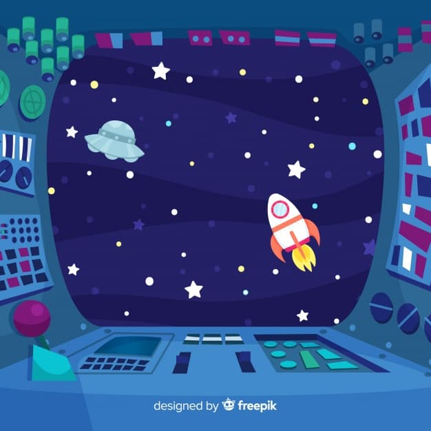 Interior spaceship design background with flat design