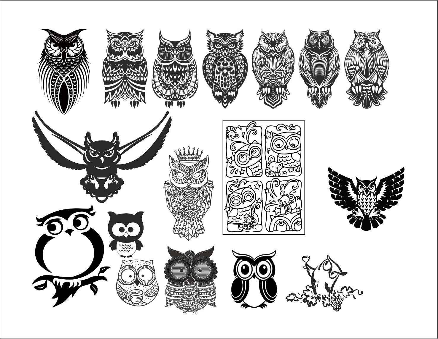 Large set of black and white owl vectors | Free Graphic