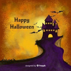 Halloween watercolor background with castle