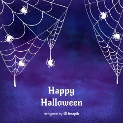 Halloween watercolor background with spider web