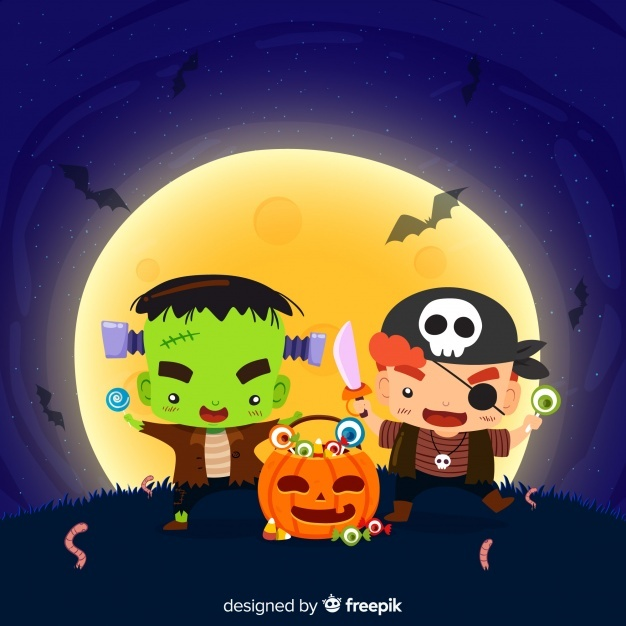 Lovely halloween background with flat design