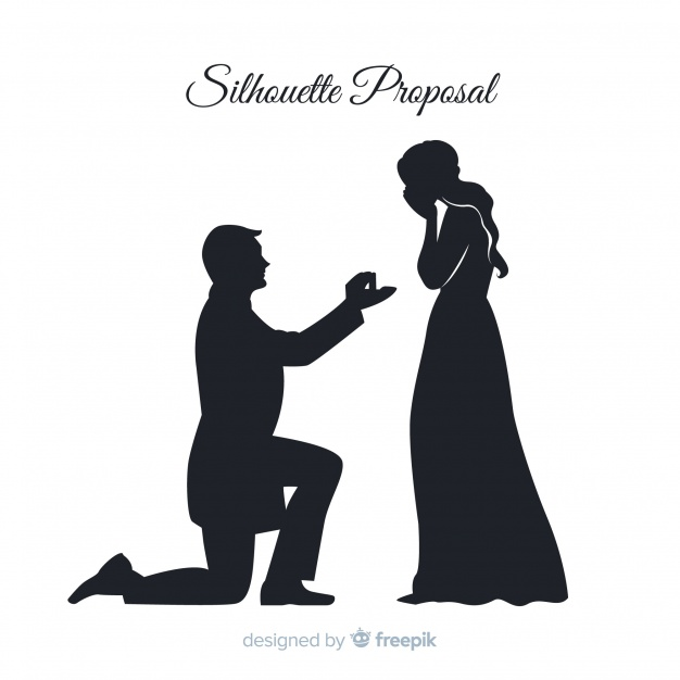 Marriage proposal composition with silhouette style