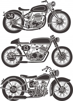 Vintage Motorcycle Set Free Vector