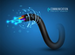 Technology communication fiberoptic cable connecting concept