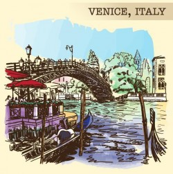 Italy venice painted sketch vector 03
