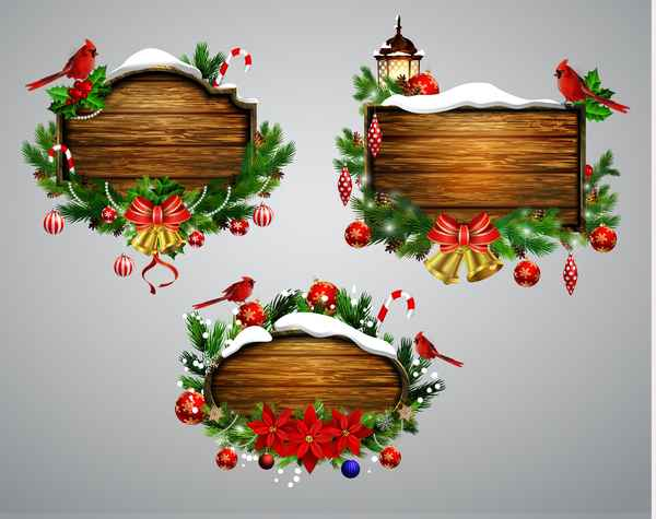 Wooden christmas lables design vector 09