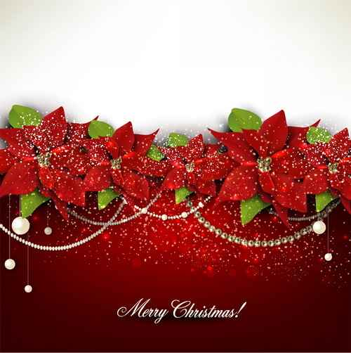 Christmas red background with shiny jewelry vector 01