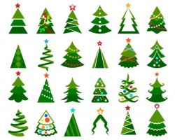 Paper cut christmas tree vectors set 03