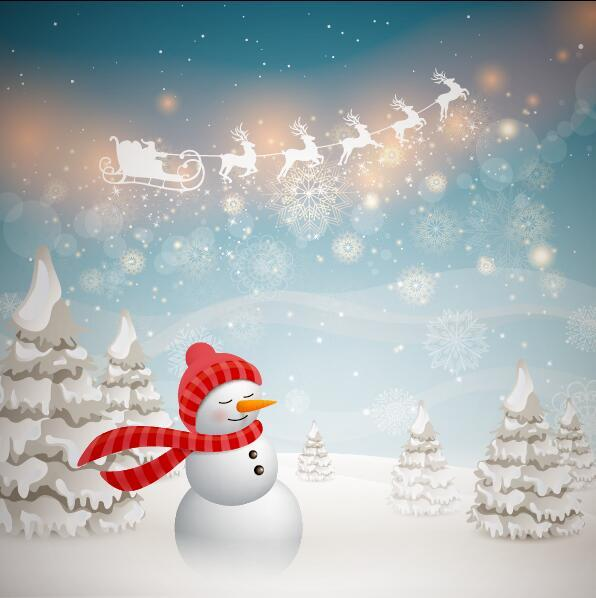 Christmas with winter background and snowman vector