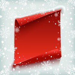 Snowflake background with blank red paper vector