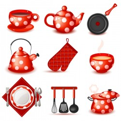 Cute red tableware vector illustration