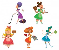 Set of housewives vector illustration