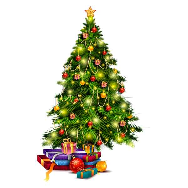 Christmas tree with gift vector illustration 01
