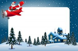Xmas frame and santa airplane vector