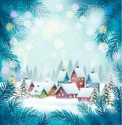 blue holiday background with chistmas village vector