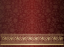 Vintage decorative pattern with floral seamless border vector 13