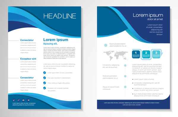 Abstract business flyer with brochure cover template vector 15