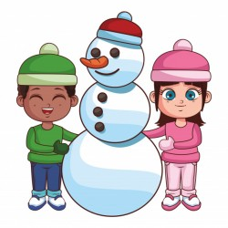 Boy and girl with snowman