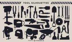 Construction tools silhouette set