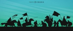 Medieval war silhouette illustration