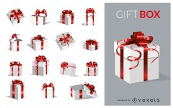 Set of silver and red gift boxes