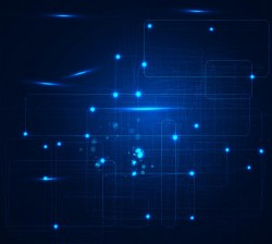 Abstract Glowing Blue Overlapping Squares Background