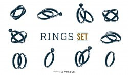 Black and White Rings Set